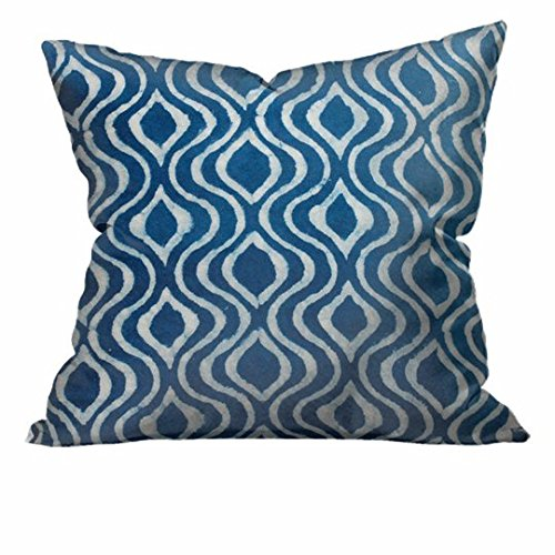 Indian Batik Indigo Waves Cotton Throw Accent Pillow (Wave Batik)