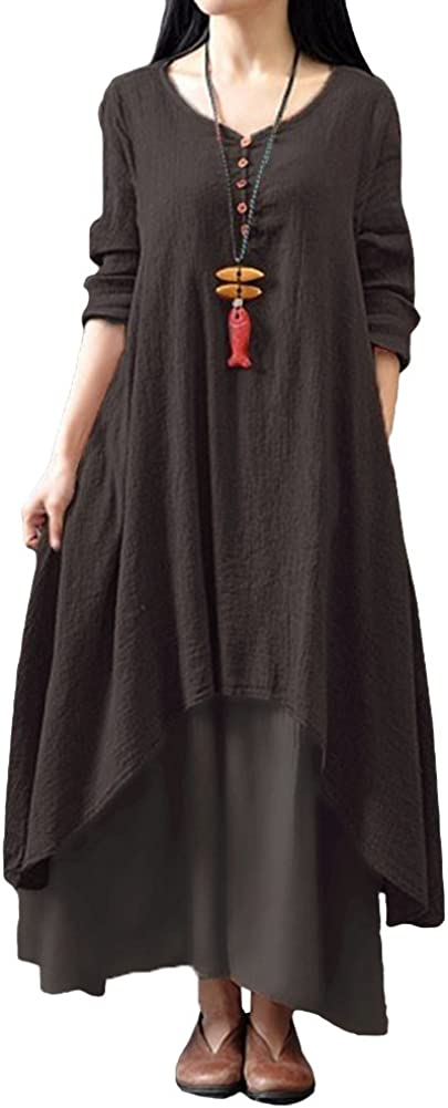 TALLA XL. Romacci Vestido Suelto Vestido Ocasional de Las Mujeres Manga Larga Sólida Maxi Vestido Largo de Boho Café XL