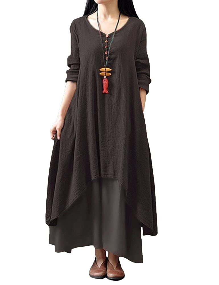 TALLA 5XL. Romacci Vestido Suelto Vestido Ocasional de Las Mujeres Manga Larga Sólida Maxi Vestido Largo de Boho Café 5XL