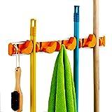 Cinlv Towel Hook Mop and Broom Holder Storage Solutions for Broom Organizer Closet Garage Organizer Garden Tool Storage