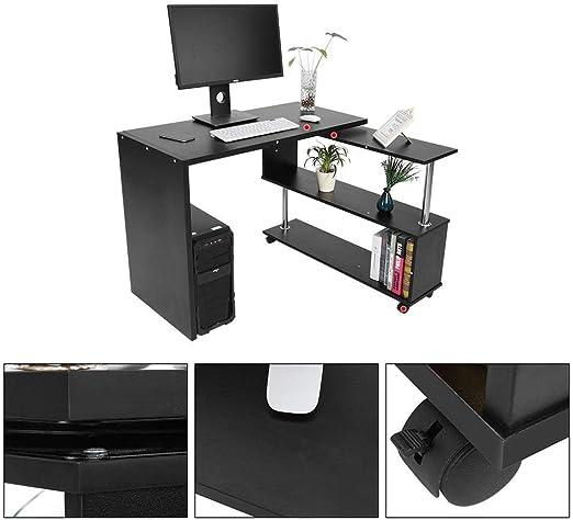 Negro EBTOOLS Escritorio de la Computadora de la Esquina 360 Grados Giratorio Ajustable con Estantes de Libros Mesa Port/átil