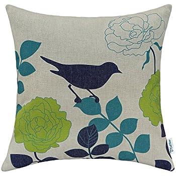 CaliTime Canvas Throw Pillow Cover Case for Couch Sofa Home Decor, Floral Cartoon Shadow Bird 18 X 18 Inches Natural Ground Navy Bird