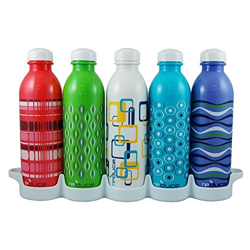 Reduce WaterWeek Reusable Water Bottle Set with Fridge Tray Organizer, 16oz - 5 Pack Spectrum II (Assorted Colors)