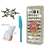 kumihimo stand - Samsung Galaxy S8 Plus Case, STENES 3D Handmade Luxurious Crystal Sparkle Diamond Rhinestone Hybrid Cover with Anti Dust Plug & Stylus Pen - Classic Lattice Grid Camellia Ring Stand Feature / White