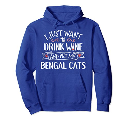 Unisex Bengal Cats Hoodie for Cat Lady Wine Drinkers Large Royal Blue