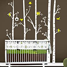 BATTOO Birch Tree Wall Decal Forest with Birds Nursery Bedroom Vinyl Sticker Removable(8 feet, white + light yellow)