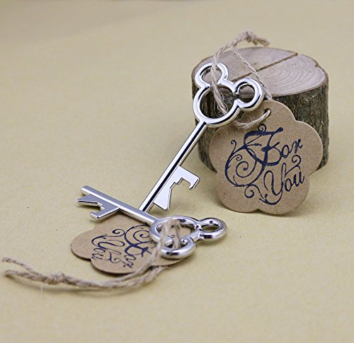 50pcs Silver Wedding Favors Skeleton Key Bottle Openers with Escort Tag Card For You Stamp MM