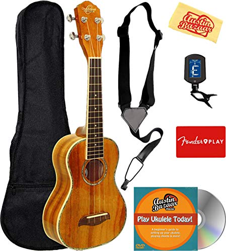 Oscar Schmidt OU5 Koa Concert Ukulele Bundle with Gig Bag, Tuner, Strap, Fender Play Online Lessons, Austin Bazaar Instructional DVD, and Polishing Cloth