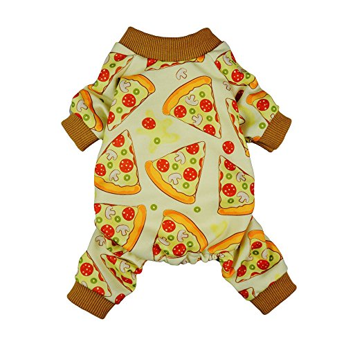 Fitwarm Pizza Pet Clothes for Dog Pajamas Cat PJS Jumpsuits Shirts Small
