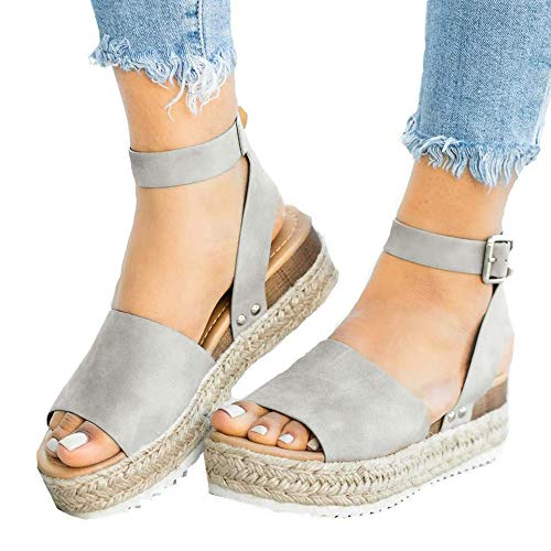 Athlefit Women's Platform Sandals Espadrille Wedge Ankle Strap Studded Open Toe Sandals Size 8 Grey