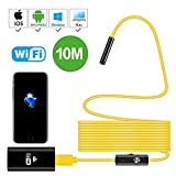 WiFi Endoscope, Wireless Borescope Waterproof 2.0 Megapixels HD Camera with 10M Yellow Snake wire with Micro USB,OTG Function for Android,IOS Smartphone,iPad,Samsung Pad,Tablet PC,Laptop