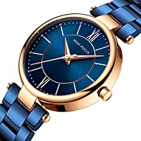 Womens Watch,Stone Quartz Watch with Stainless Steel Casual Fashion Wrist Watch for Ladies