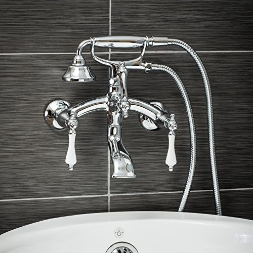Luxury Clawfoot Tub or Freestanding Tub Filler Faucet, Vintage Design with Telephone Style Hand Shower, Wall Mount Installation, Porcelain Handles, Polished Chrome ()