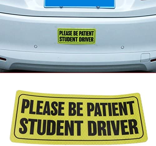 buyinhouse 1 Piece Please Be Patient Student Driver Safety Sign Vehicle Bumper Decal Sticker for The Novice or Beginner - Hight Reflective Vehicle Car Bumper Sign Decal Sticker(9 x 4)
