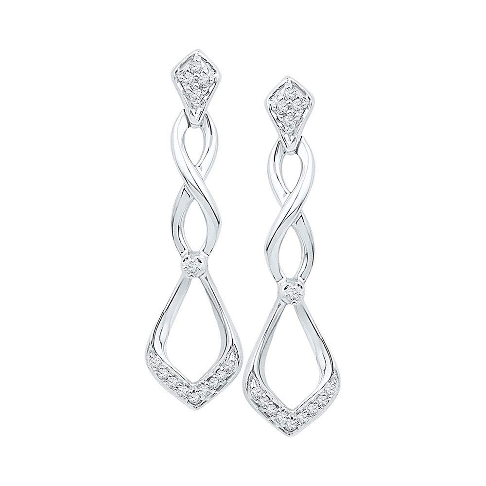 5e0ebbcd9c6 Amazon.com  10kt White Gold Womens Round Diamond Cascading Teardrop Dangle Earrings  1 10 Cttw  Jewelry