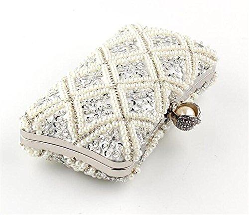 Sacs Pochette Robe Soirée Perlée Épaule Blanc De Mariage Femme Perle Saqdfw1FnS