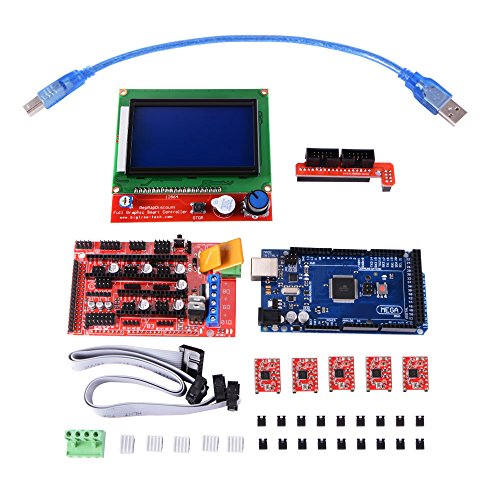 XCSOURCE 3D Printer Kit with RAMPS 1.4 Controller + Mega 2560 Board + 5pcs A4988 Stepper Motor Driver with Heatsink + LCD 12864 Graphic Smart Display Controller with Adapter for Arduino TE621