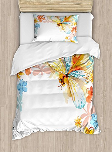California King Bedding Sets,Dragonfly Duvet Cover Set,Abstract Grunge Vintage Design Moth with Spring Flowers Floral Frame Art Print,Include 1 Flat Sheet 1 Duvet Cover and 2 Pillow Cases