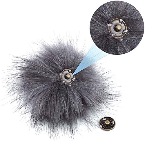 M-Aimee 20 Pieces Faux Fur Pom Poms Ball Removable Fluffy Pompoms with Press Button for Knitting Hat Shoes Scarves Bag Accessories Mix Color, 10 cm