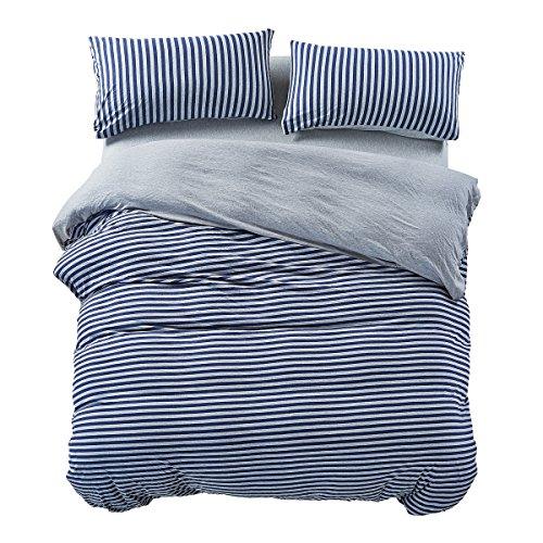 PURE ERA Duvet Cover Set Cotton Jersey Knit Super Soft Comfy Breathable Striped Luxury Bedding Sets Reversible - Blue Grey King