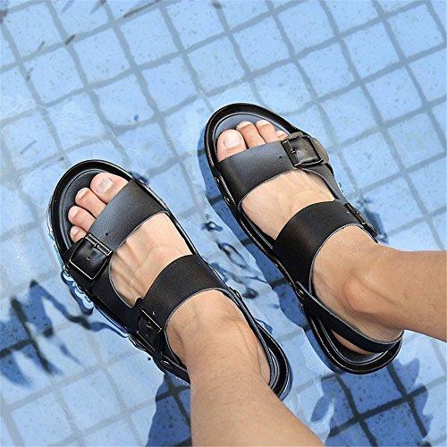 Respirables del Dedo Cuero Hombres los Verano de Antideslizantes Ocasionales Ajustables Abierto Sandalias de Black del de pie del Playa Sandalias dqz8Wx