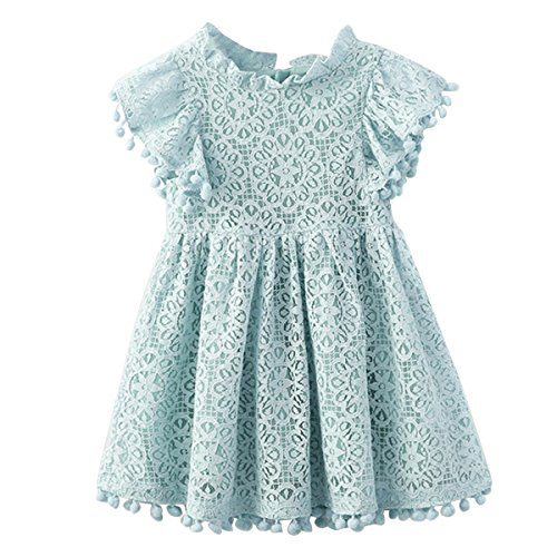 - Kids Girl Hollow Lace Dress pom pom Short Sleeve Princess Frilled Waist Dress (2-3T, Light Blue)