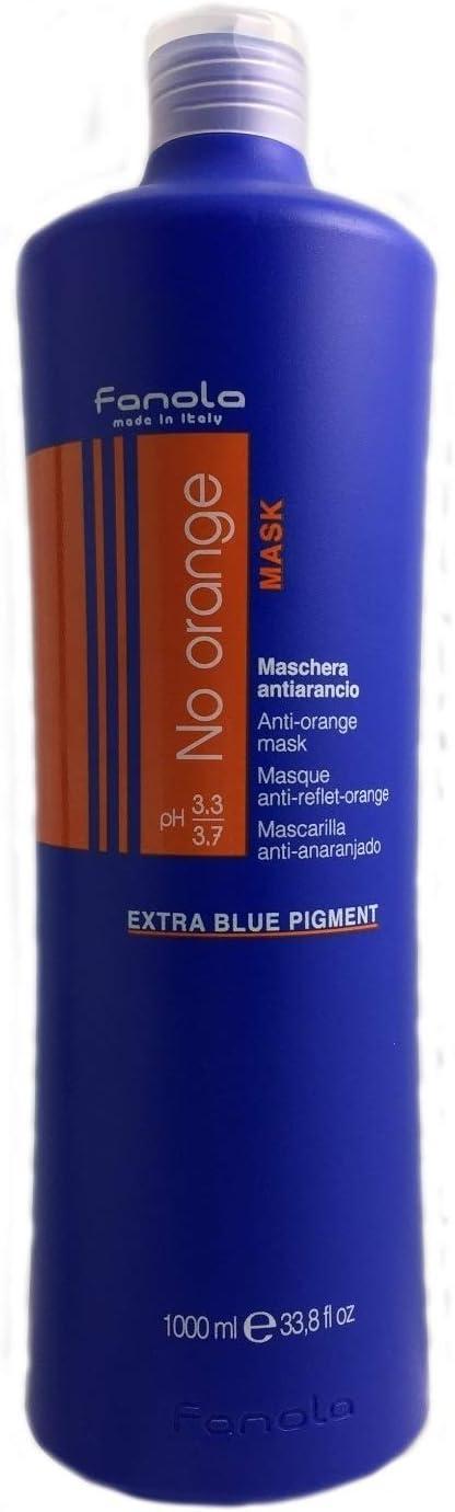 Fanola No Orange mask - Mascarilla antianaranjado para el pelo, pigmento azul extra, 1000 ml