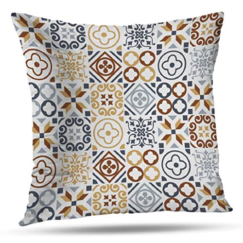 (WAYATO Pillow Case Cotton Polyester Blend Throw Pillow Covers Slate Blue Brown Sari Mosaic Art Bed Home Decor Cushion Cover 18X18 Inch)