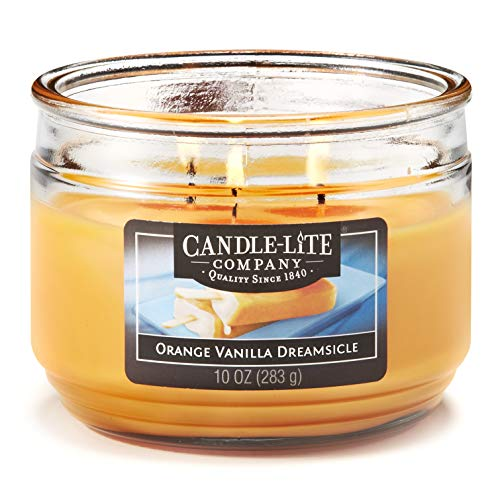 Candle-Lite Everyday Scented Orange Vanilla Dreamsicle 3-Wick Jar Candle, 10 oz, Yellow (Scented Orange Candles)