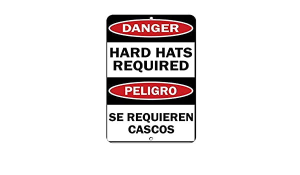 Amazon.com: Danger Hard Hats Required Peligro Se Requieren Cascos Aluminum METAL Sign: Sports & Outdoors