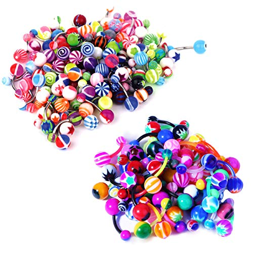 BodyJ4You 100PC Belly Button Rings Banana Barbells 14G Steel Bar Bioflex Bar Mix Color Body Jewelry