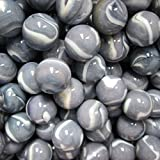 """Unique & Custom {5/8 Inch} Approx 2 Pound Set of Approx 164 """"Round"""" Opaque Marbles Made of Glass for Filling Vases, Games & Decor w/Shiny Marbled Stone Look Swirl Design [Gray & White Colors]"""