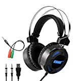 KUAK X3 Gaming Headset with Mic for Xbox One PS4 PC,Over Ear Bass Stereo Gaming Headphones with Noise Cancelling, Volume Control, Flexible Headband and 7Color LED Light, 3.5mm Plug for Computer/Laptop