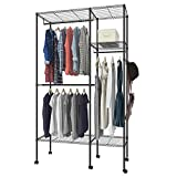 Evokem Wire Shelving Garment Rack Closet Hanger Storage Organizer Clothes Wardrobe with Wheels