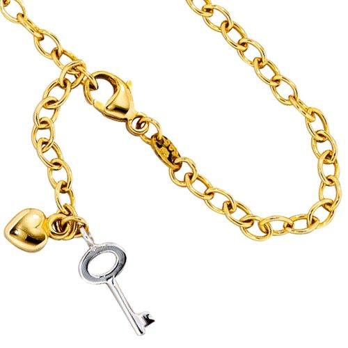 JOBO chaîne chaine de pied en or jaune 585 et or blanc partiellement 26 cm