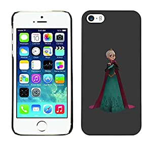 LECELL--Funda protectora / Cubierta / Piel For Apple iPhone 5 / 5S -- Princess Queen Crown Art Blonde Robe --