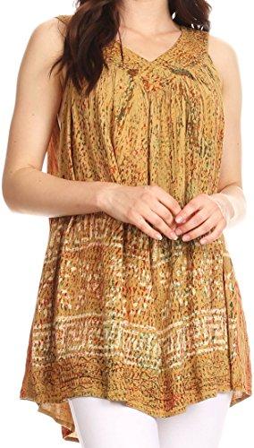 Sakkas S-4-85683 - Badalea Long Embroidered Sequin Beaded Batik Shirt Printed Tank Top Blouse - Mustard - OS ()