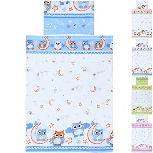 LCP Kids EULEN blau 2 teiliges Baby und Kinder Bettwäsche Set 135x100 cm + 60x40 cm Garnitur