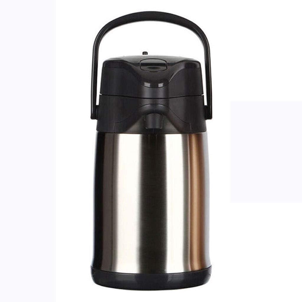 保温ポット 断熱ポット、3000mlプレスコーヒーティーメーカーダブルウォール304ステンレス鋼 (Color : Stainless steel)