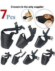 Dog Muzzles Suit, 7 PCS Anti-Biting Barking Pet Muzzles Adjustable Dog Muzzle Mouth Cover for Small Medium Large Extra Dog - Black
