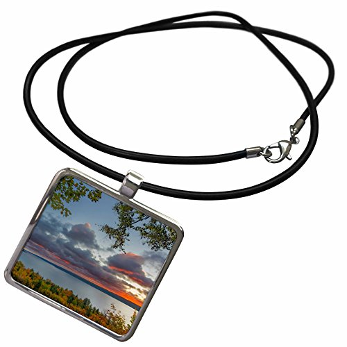 3dRose Danita Delimont - Sunrises - Autumn sunrise over Munising Bay and Grand Island, Munising, Michigan - Necklace With Rectangle Pendant (Autumn Island Pendant)