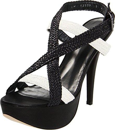 (Stuart Weitzman Women's $410 Black White Woven Strappy High Heel Platform Heels Sandals Shoes 10.5 M New)