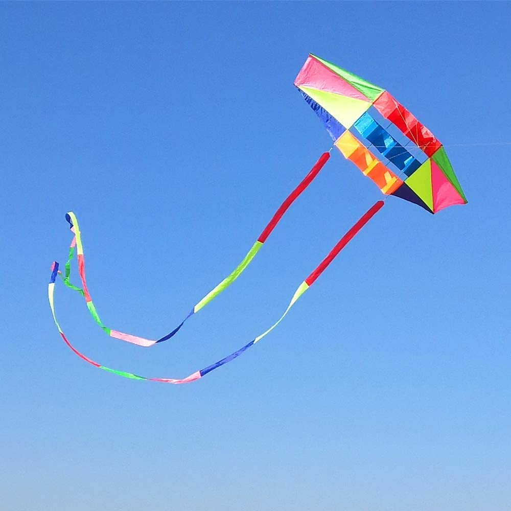 Beach Kites for Adults Large with Long Tail, 98 inches Super Easy Flyer 3D Rainbow Box Kites, Come with 49 Feet Multi Colors Tails x 2, 300 ft Kite String & Handle