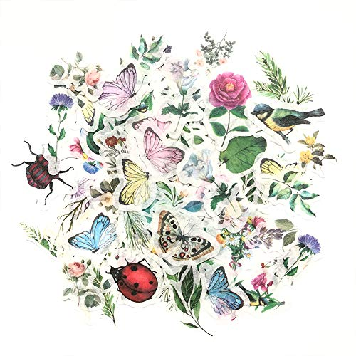 1000Art Nature Stickers Set(96 PCS) Small Flowers Plant Insects Stickers for Journaling,Planners,Card Making,Scrapbooking,DIY Arts and Crafts