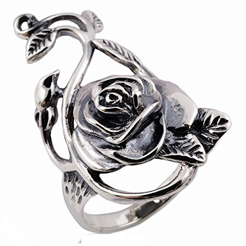 Hill Tribe Silver Rose Pendant - Asia Ring Thai Rose Flower Ring 925 Sterling Silver Size. US=8 UK=P
