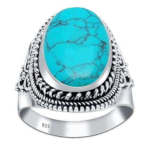 925 Oxidized Sterling Silver Turquoise Gemstone Oval Rope Edge Vintage Ring
