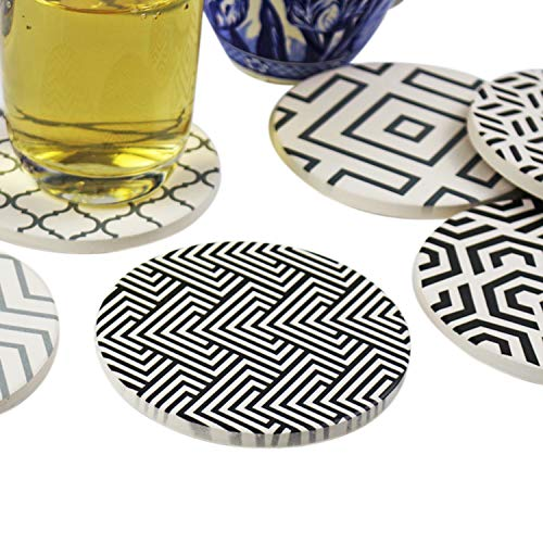 Absorbent coasters for drinks with cork back used on coffee tables for living room as kitchen mat home decor living room decor office decor desk decor and housewarming gifts