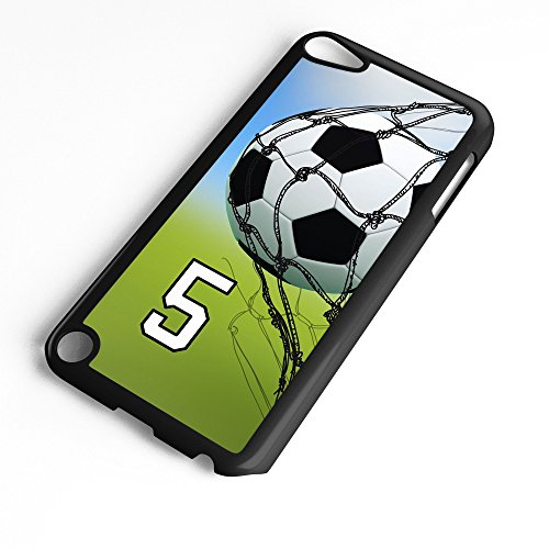 iPod Touch Case Fits 6th Generation or 5th Generation Soccer Ball #0500 Choose Any Player Jersey Number 5 in Black Plastic Customizable by TYD Designs