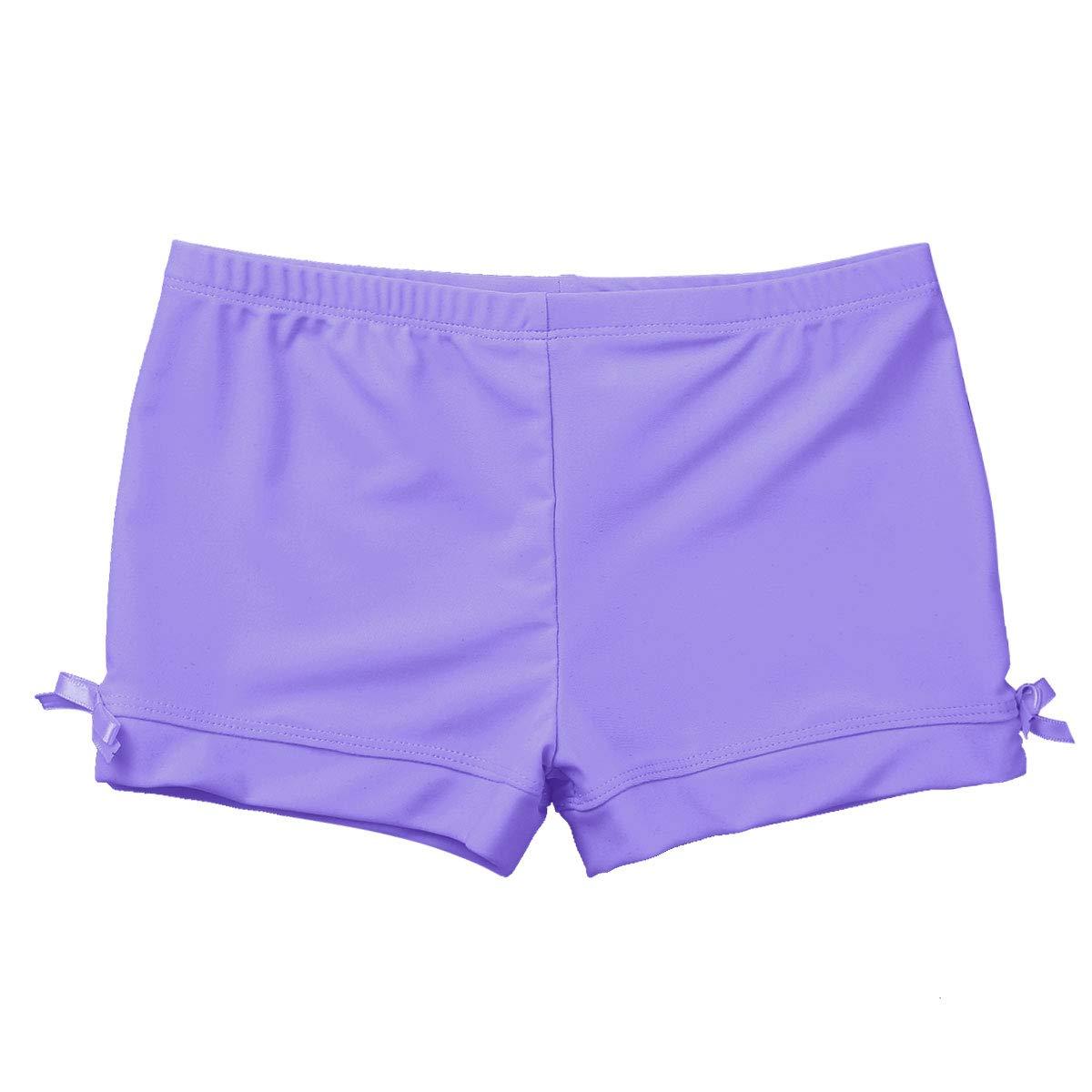 Agoky Kids Girls Gymnastics Workout Yoga Athletic Sports Training Bike Short Light_Purple Boy-Cut 3
