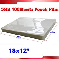 100 PK 5Mil 12x18 Large Size PVC 2Flap Thermal Laminating Pouch Film Laminator